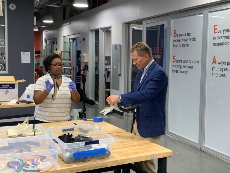 Chancellor Kevin Guskiewicz stopped by the makerspace to see the process in action